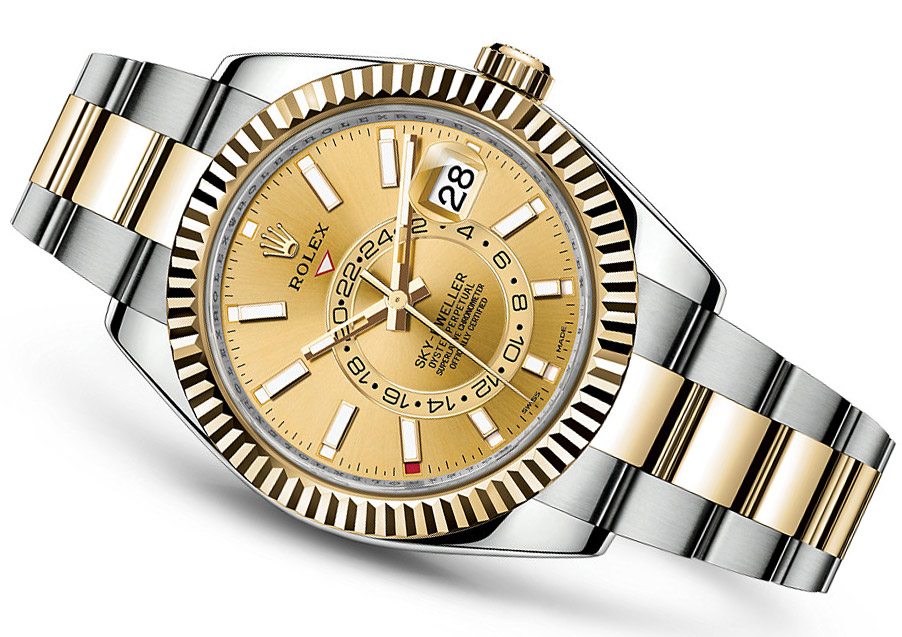 The champagne dials copy watches have dial time zone.