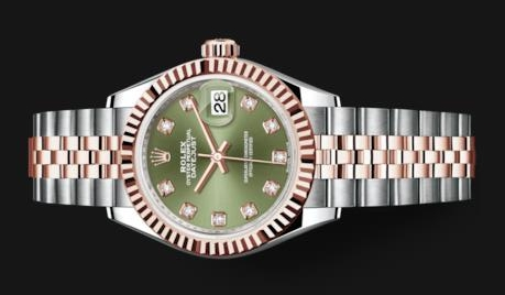 The female copy watches have olive green dials.